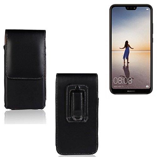 K-S-Trade Für Huawei P20 Lite Single-SIM Gürtel Tasche Gürteltasche Schutzhülle Handy Tasche Schutz Hülle Handytasche Smartphone Case Seitentasche Vertikaltasche Etui Belt Bag schwarz für Hua
