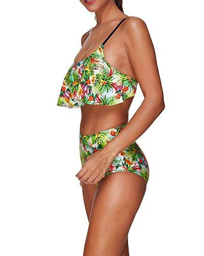 Damen Buntem Muster Zweiteilig Bikini Set Bademode Badeanzug Stil2