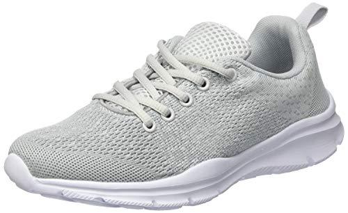 KOUDYEN Damen Laufschuhe Atmungsaktiv Turnschuhe Schnürer Sportschuhe Sneaker,XZ746-W-grey-EU38