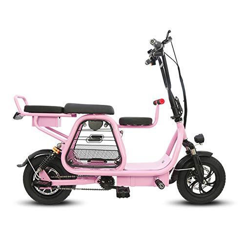 JH Bici elettrica, Città della Bicicletta 400W Motore Elettrico Bike 30-60Km Portatile Padre-Figlio Biciclette 12 Pollici,Rosa,8amps