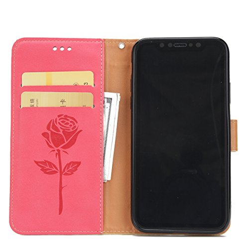 Custodia iPhone X, iPhone X Cover Wallet, SainCat Custodia in Pelle Flip Cover per iPhone X, Ultra Sottile Anti-Scratch Book Style Custodia Morbida Cover Protettiva Caso PU Leather Custodia Libretto A Rosso