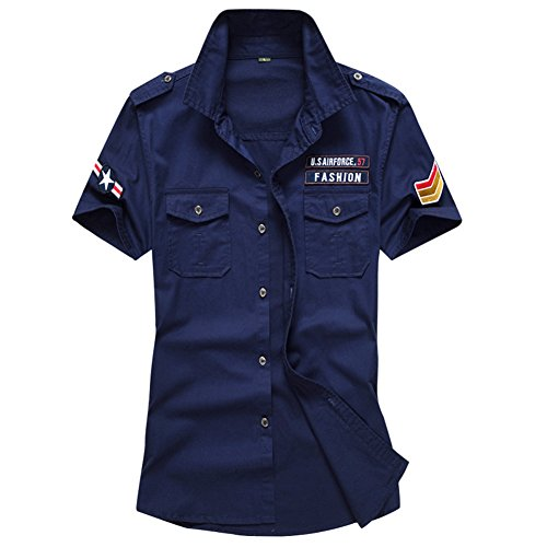 Newbestyle Hemd Herren Kurzarm Baumwolle Militärisch Cool Sommer Shirt Top Jungen Oberteil Dunkelblau X-Large