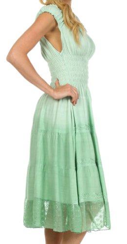 Sakkas Frühling Mädchen Ombre Bauernkleid Salbeigrün