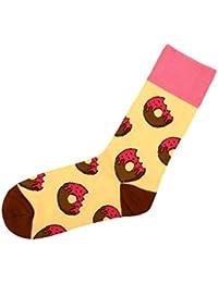 Chaussettes avec motifs rigolo sympa cool Taille: 39 - 42 pour femme homme adulte ou Ados fille garçon idée cadeau une petite touche d'humour, d'amour, de tendresse, de fantaisie, et d'originalité, choisir:SO-XL16 Donuts