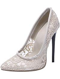 f2130ad316c5 KIKIVA Escarpin Femme Talon Haut 12 CM Sexy Aiguille Bout Pointu Dentelle  Chaussures