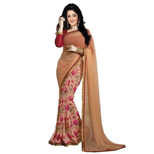 Janasya Women's Orange Half Half Georgette Printed Saree (JNE0922-SRE-ORANGE)  available at amazon for Rs.499