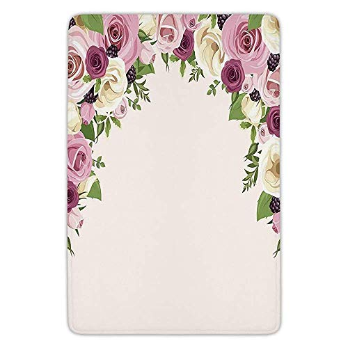 RAINNY Bathroom Bath Rug Kitchen Floor Mat Carpet,Roses Decorations,Roses and Lisianthus Berries Arch Decoration Marriage Gatherings Artistic Design,Flannel Microfiber Non-Slip Soft Absorbent -