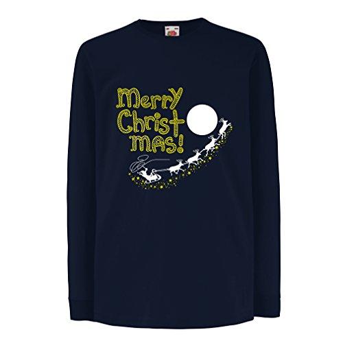 irt mit langen Ärmeln Santa Claus and the Reindeers, Christmas outfits and gifts (7-8 years Blau Mehrfarben) (Die Herkunft Von Santa Claus)