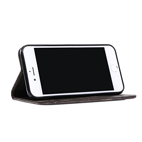 KM-WEN® Schutzhülle für Apple iPhone 7 Plus (5,5 Zoll) Bookstyle Holz Muster PU Leder Wallet Case Flip Cover Hülle Tasche Schutzhülle mit Standfunktion Kartenfächer für Apple iPhone 7 Plus (5,5 Zoll) Retro Crazy Horse Muster Dunkelgrau