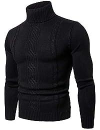 Jersey De Punto con Cuello Alto para Hombre Color Sólido Manga Larga  Espesar Suéter 9aafc9cde98