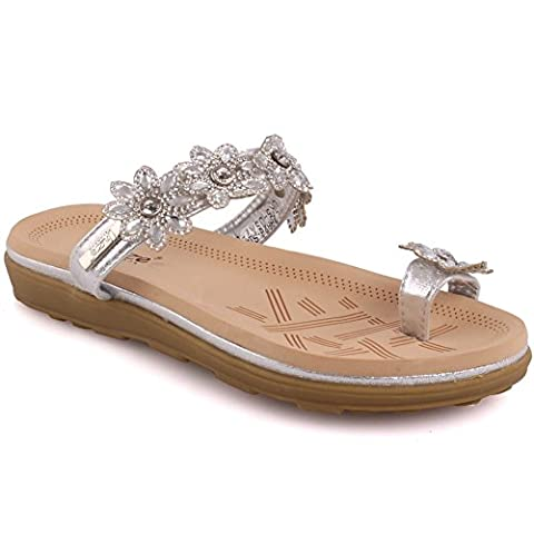 Unze New Women Ladies Fevia Floral Embellished Carnival Beach Summer Slippers Shoe (Silver) (6 UK)