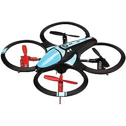 Drone cuadricóptero de largo alcance 450 mAh con propulsores de recambio, color negro