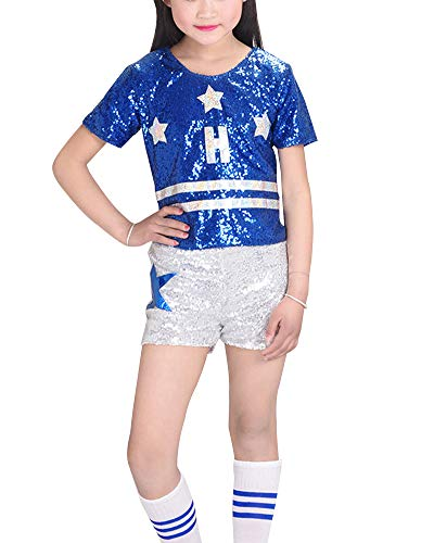 Kostüm Kinder Blauer Cheerleader - Mädchen Cheerleader Uniform Pailletten Hip Hop Jazz Performance Kostüm Outfit Oberteil + Shorts + Socken Blau 110