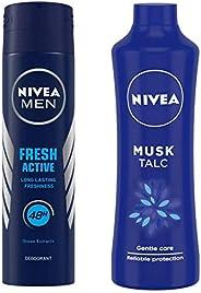 NIVEA MEN Deodorant, Fresh Active Original, 150ml & Talc, Musk Mild Fragrance Powder, 400g Combo
