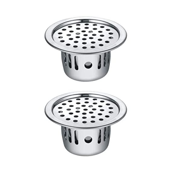 Drizzle Anti Cockroach Trap 5 Inch Round Stainless Steel With Chrome Finish/Cockroach Jali For Home And Kitchen/Drain Strainer For Bathroom - Combo Of 2 Pieces