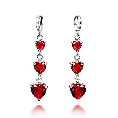 Ujewelry - Orecchini pendenti da donna in argento Sterling, con granato artificiale a forma di cuore, colore: rosso