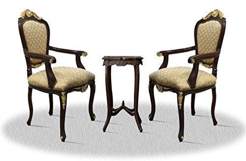 Casa Padrino Barock Esszimmerstuhl Set mit Beistelltisch Dunkelbraun/Gold/Bronze - Antik Stil Möbel (Bronze Set Beistelltisch)