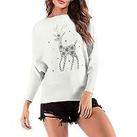 Minzhi Frauen Deer Printed Gestrickte T Shirt Christmas Round Neck Langarm-zufällige Spitze