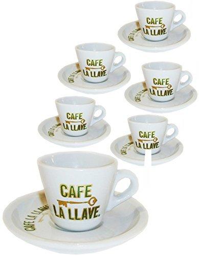Cafe La LLave Demitasse. 6 Cups and 6 Saucers set. by Sentir Cubano 6 Demitasse Cup