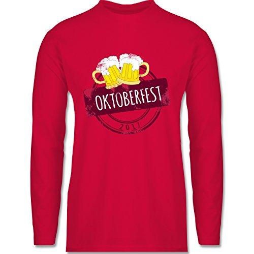 Oktoberfest Herren - Vintage Stempel Oktoberfest 2017 - Longsleeve / langärmeliges T-Shirt für Herren Rot