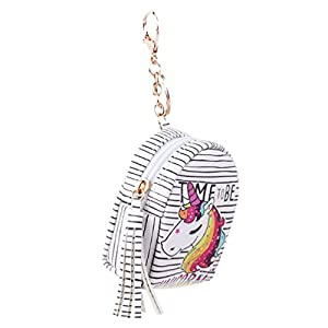 VWH Women PU Unicorn Mini Wallet Card Key Holder Zip Coin Purse Clutch Bags