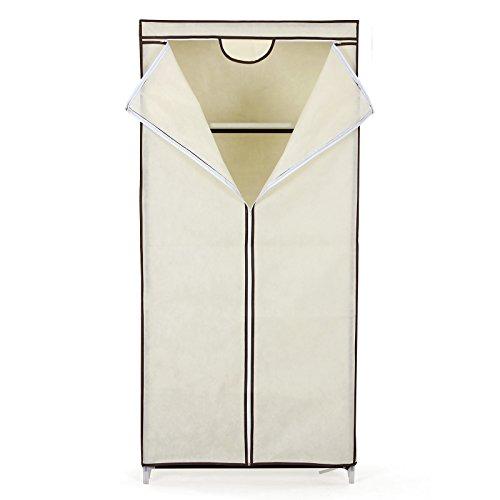 Songmics armadio cabina guardaroba appendiabiti in acciaio tessuto beige 160 x 75 x 45 cm ryg83m