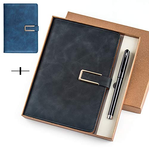 ZUEN 2er-Pack Notizbücher und Tagebücher, Lederjournal/Notizbuch-Tagebuch Magnetverschluss 130 Seiten Notizblock Retro-Tagesplaner, Geschenkbox -