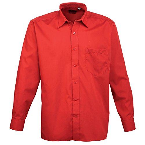 Premier - Camicia in Popeline Manica Lunga - Uomo Rosso