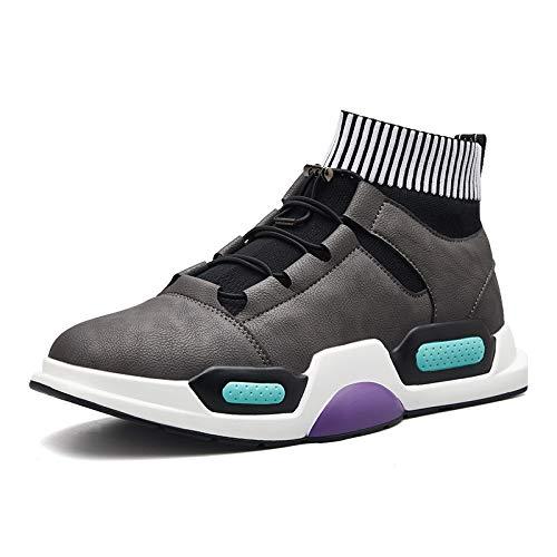 Fahren Schuhe High Top (YAN 2018 Herren-Casual-Schuhe Microfiber Deck Schuhe High-Top-Wohnungen Schuhe Mode Street Dance Schuhe Fahren Schuhe Fahrradschuhe,Gray,43)