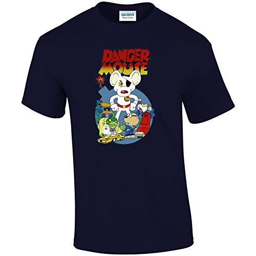 Retro 1980T-Shirt TV Cartoon Charakter Vintage Style Dangermouse TShirt Blau - Navy