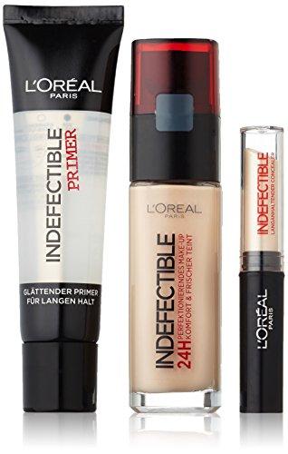L'Oréal Paris Set Indefectible Make-Up 145 rose beige, Concealer 01 vanilla inkl. Gratis Primer, 1er Pack