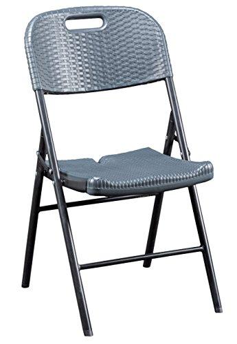 CON:P Klappbarer Stuhl, Rattan-Optik, Kunststoff, anthrazit, 50 x 45 x 88 cm, B46503