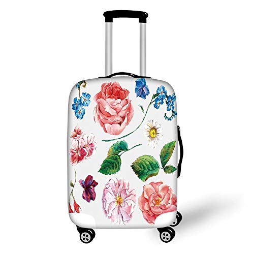 Travel Luggage Cover Suitcase Protector,Floral Decor,Bouquet Set with Rose Daisy Petals and Branches Shabby Chic Vintage Picture,Pink Green,for Travel -
