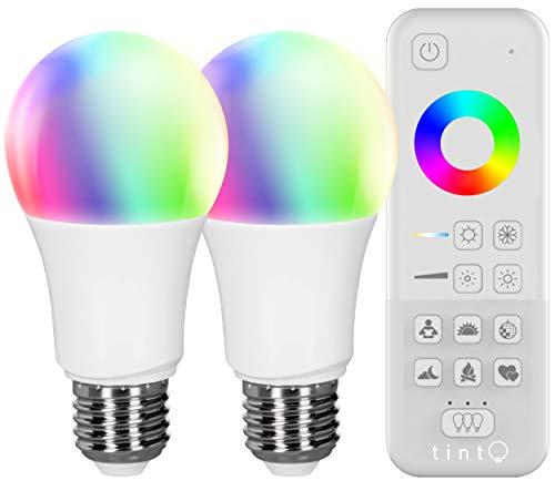 tint, das smarte Lichtsystem von MÜLLER-LICHT - Starter 2er Set: 2 x LED-Birnenform E27 ''white+color'' (unterschiedliche Weißtöne: 1800 - 6500 K und farbiges Licht: RGB) + Fernbedienung -