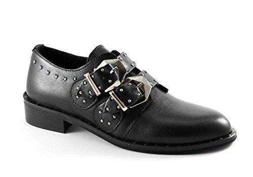 DIVINE FOLLIE 2C brogues en cuir chaussures noires femme boucles goujons Nero