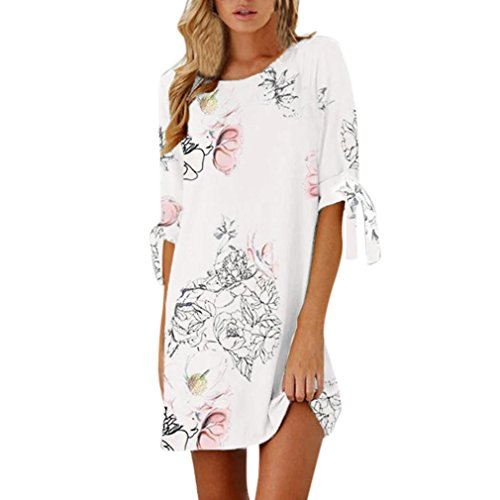 VJGOAL Damen Kleid, Damen Mode Half Sleeve Bow Bandage Floral gerade beiläufige kurze Mini Sommer Kleid Frau Geschenk (L, Weiß) (Cap Sleeve Bow)