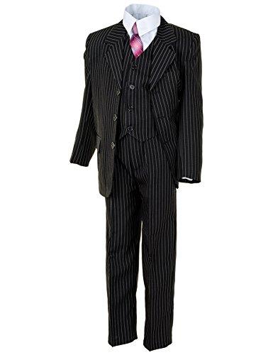 Festlicher 5tlg. Jungen Anzug in Vielen Farben mit Hose, Hemd, Weste, Krawatte und Jacke M313Nsw Schwarz Nadelstreifen Gr. 14/152/158