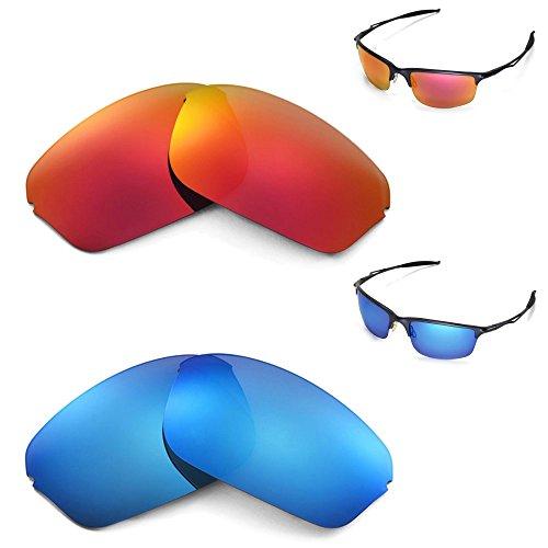 Walleva Polarisierte Gläser für Oakley Half Wire 2.0 Eisblau + Feuerrot