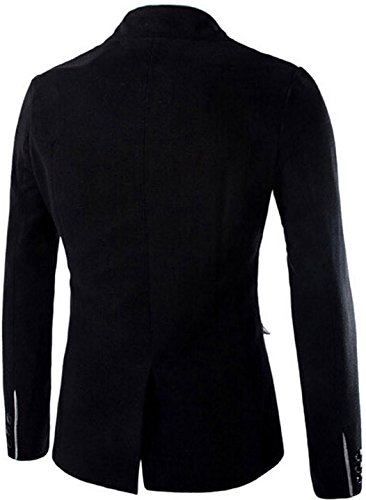 Jeansian Hommes Manteau Fashion Single Breasted Furry Stand Collar Small Suits Jacket 9388 Black