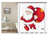 Amody 3D Digitaldruck Santa Duschvorhang Bad Vorhang Durable Wasserdicht Bad Vorhang Weiß Rot Größe 180x200CM