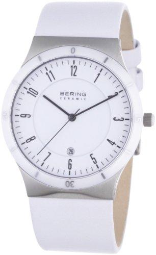 Bering Ceramic – Reloj analógico de caballero de cuarzo con correa de acero inoxidable blanca – sumergible a 50 metros