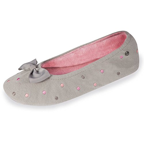 chaussons-ballerines-femme-pois-brodes-isotoner-38