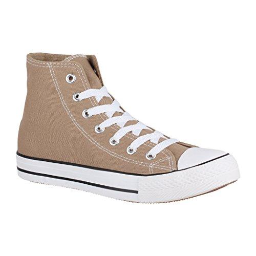 Elara Unisex Sneaker | Bequeme Sportschuhe für Damen und Herren | Low Top Turnschuh Textil Schuhe Chucks-Hoch-1 XG201 Khaki-39