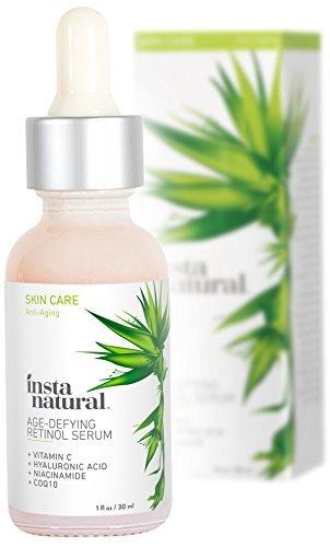 InstaNatural Retinol-Serum - Ein Anti-Falten und Anti-Aging Serum zur Reduzierung von Falten, Krähenfüßen & feinen Linien - Mit Vitamin C und Hyaluronsäure - 30 ml