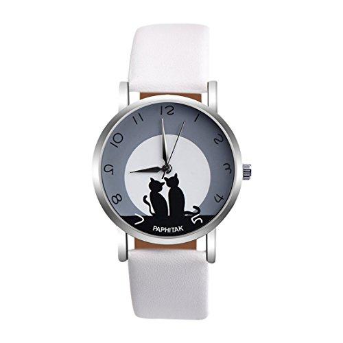 Souarts Damen Armbanduhr Einfach stil Katze Muster Analoge Strass Quarz Uhr mit Batterie Weiß