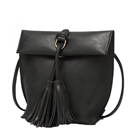 Frauen Mode Einfache Schnalle Knopf Frau Fransen Umhängetasche Handtaschen-Taschen-Geldbeutel Black