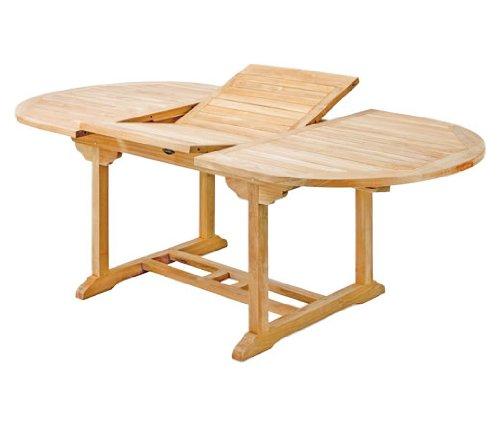 Ausziehtisch Orvieto aus Teakholz, 180-240cm ✓ Wetterfest ✓ Nachhaltig ✓ Robust | Ovaler Holztisch als großer Küchen-Tisch, Balkon-Tisch, Garten-Tisch | Ausziehbarer Teak-Tisch, Esstisch für draußen | Verlängerbares Garten-Möbel aus Massiv-Holz