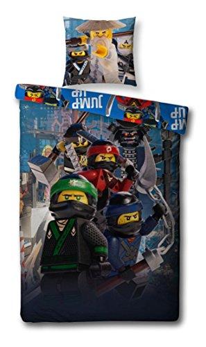 Familando Biber/Flanell Kinder-Bettwäsche Set Lego Ninjago Movie, 135x200cm + 80x80cm, 100% Baumwolle Motiv Kick