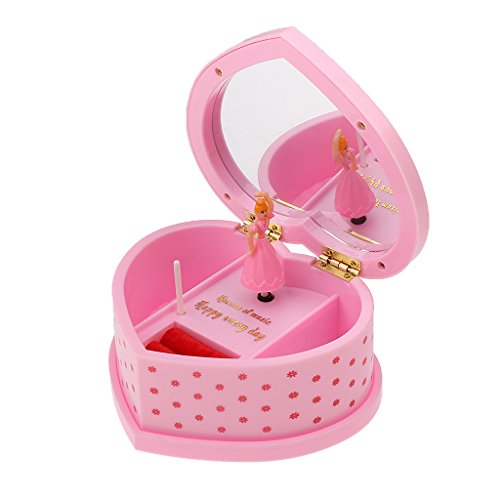 Segolike Heart Shaped jewellery Music Box With Rotating Dance Girl Birthday Gift Pink