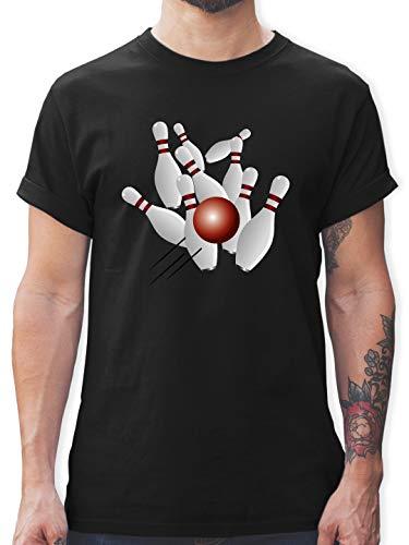 Bowling & Kegeln - Kegeln alle 9 Kegeln Kugel - L - Schwarz - L190 - Herren T-Shirt und Männer Tshirt -
